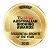 Australian Broking Awards Winner 2018 - Residential Broker of the Year